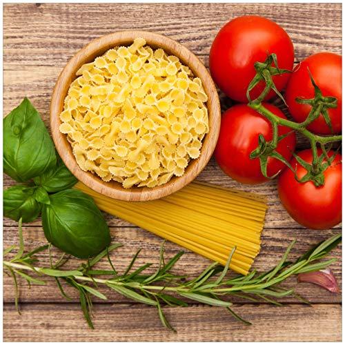 Wallario Möbeldesign/Aufkleber, geeignet für IKEA Lack Tisch - Spaghetti mit Tomaten, Knoblauch und Basilikum - Zutaten für EIN italienisches Abendmahl in 55 x 55 cm