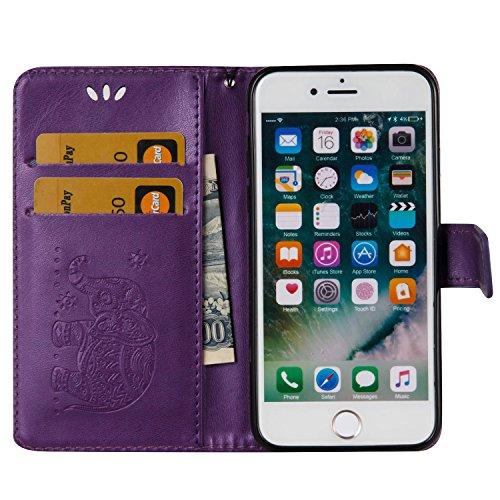 iPhone 8 Flip Case Leder,Ultra Slim Exklusive Echtleder Tasche Handyhülle für iPhone 7,BtDuck 360 Grad Flip Case Vertikal Klappbar aus Echtleder Flip Cover Hülle Lanyard Ledertasche Wallet Bookstyle C #E Lila