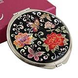 Handtaschenspiegel Rund Taschenspiegel Rote Pfingstrose Blumen Makeup Metall Schminkspiegel Edelstahl