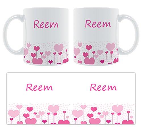 Reem – Motif cœurs – Femelle Nom personnalisable Mug en céramique