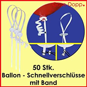ballon schnellverschl sse mit band 50 stk f r. Black Bedroom Furniture Sets. Home Design Ideas
