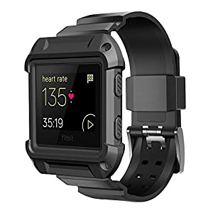 Fitbit Blaze Bands, Simpeak Rugged Protective Frame Case with Resilient Strap Replacement Bands for Fitbit Blaze Smart Fitness Watch