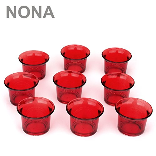 NoNa 4,5 cm Teelicht-Gläser - Neun im Set - ROT - Teelichtglas Kerzenglas Kerzengläser Teelichthalter