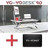Bündel-Angebot – Sie sparen €50 . Yo-Yo DESK 90 (Weiß) Bündel mit Yo-Yo MAT. Steh-Sitz Schreibtisch. Höhenverstellbarer Schreibtisch( 90cm breit)