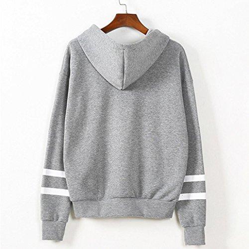 Ouneed® Femme Classique Sweat- Shirt a capuche Taille 44 -50 Gris