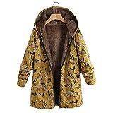 LOPILY Damen Winterjacke KapuzenjackeSteppjacke Winter Outwear Blumendruck Taschen Vintage Oversize Coats Trenchcoat Warm Fleecejacke Softshell Windbreaker (Yellow,4XL)