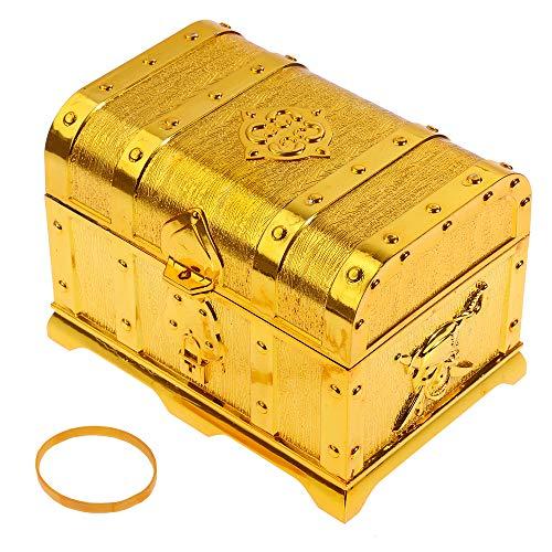 GOLDGE Piraten Schatzkiste Schatztruhe aus Kunststoff gelbe