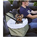 E-FAST Dog Cat Puppy Pet Car Booster Seat Travel Carrier Bag Cage Blanket Sheepskin Lining Chair with Front Zippered 5