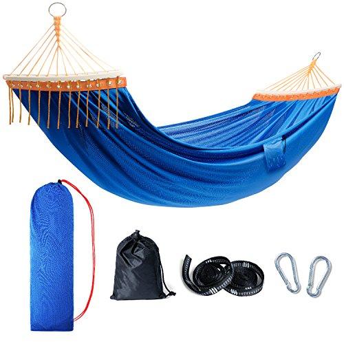 TOURIT Hängematte für 2 Personen 240kg Tragkraft Komfortabel mit Karabiner Seilen Reisetasche für Garten Hof Terrasse 260 x 165 cm