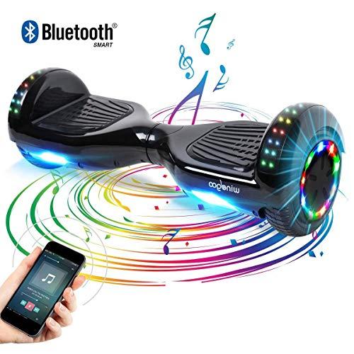 """Windgoo Self Balance E Scooter, 6.5\"""" Hoverboard mit Bluetooth Lautsprechern und Blinkenden LED Leuchten, Haverbords für Kinder und Erwachsene (Black)"""