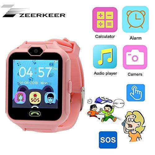 Zeerkeer Kid Smart Watch, Telefonanrufe DREI Puzzlespiele umweltfreundlichen Silikonband SOS Tracker Anti-Lost SIM-Karte für Kinder Jungen Mädchen Handy Smart Kid Smartwatch (Rosa) (Kids-uhren Mädchen Wasserdicht)