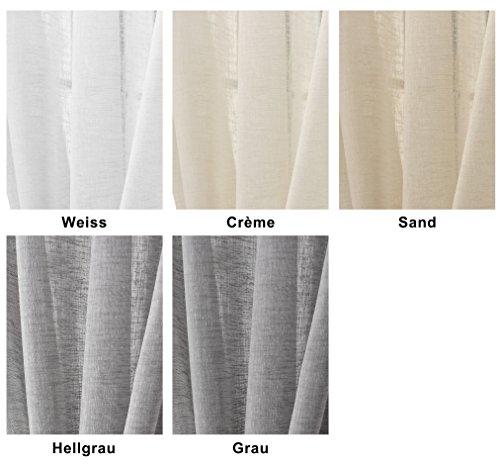 EUGAD 2er Set Gardinen Vorhang transparent Schlaufen Schal Leinen Landhaus Stores lichtdurchlässig Fensterschal Dekoschal Küche Wohnzimmer Kinderzimmer Schlafzimmer 140×175 cm Sand VH5858sd-2 - 3