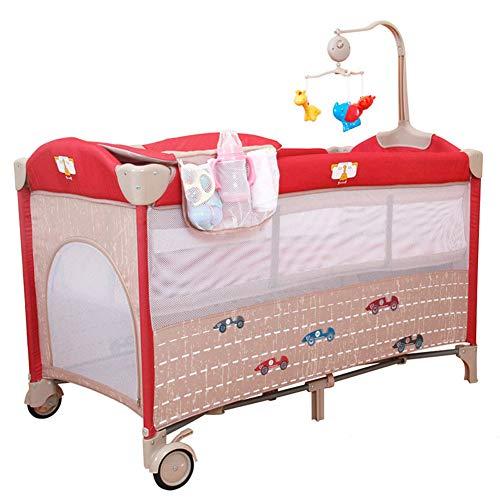 KLI Cuna Infantil Recién Nacida Sólido No Pintura Cama De Bebé De Madera Inofensiva Cuna para Bebé Cama Mecedora con Mosquitera, 125 * 65 * 80 Cm