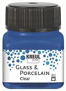KREUL 16217 Glass & Porcelain - Pintura para Cristal y Porcelana (Base de Agua, Secado rápido, Transparente, 20 ML), Color Azul Oscuro