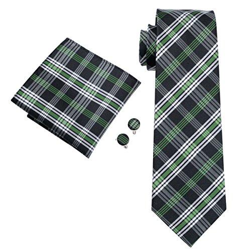 CAOFENVOO Cravate Hanky Cufflinks solides Jacquard en soie tissée cravate de soirée de mariage une affaire d'hommes blanc/vert