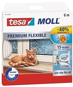 Tesa 05417-00100-01 Guanizione in Gomma per Porte e Finestre in Silicone, Bianco