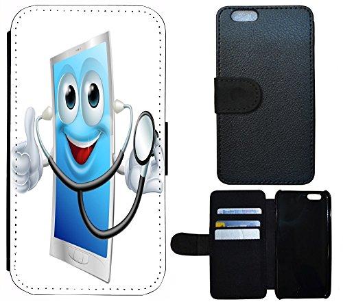 Case Etui Flip Cover Schutz Hülle Handy Tasche für (Apple iPhone 4 / 4s, 1080 Wolf Wölfe Lila Blau) 1081 Cartoon Tablet Doktor Arzt