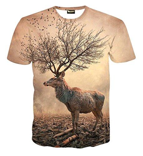 Pizoff Herren T-Shirt Kurzarm Hirsch Muster Interessante 3D-Druck Ursprünglichen Modus System Street Fashion Hip-Hop-Stil Bequem Unisex Tops Sommer Y1625-76-XL