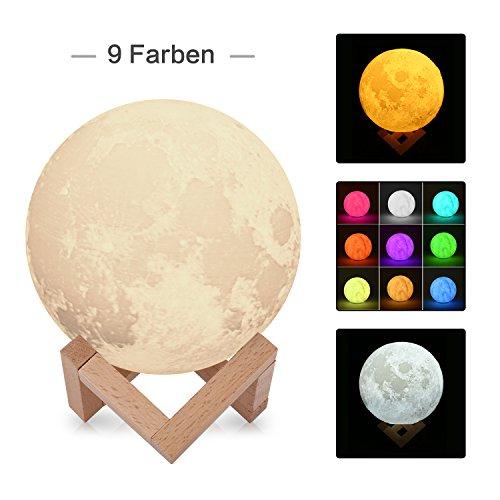 3D Mond-Lampe 15cm groß Dekolampe, PLA umweltfreundlich, USB aufladbar, dimmbar für Kinderzimmer, Party, Geschenkidee und Deko (weiß/warmweiß/7 Farbwechsel) - Tippen Sie Auf Licht