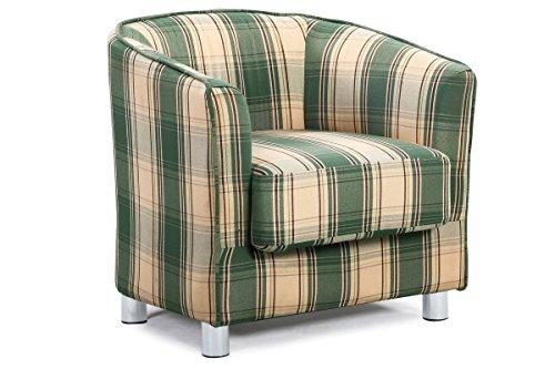 Vegas Modern Stylish Fabric Upholstered Grey U0026 Tartan Tub Chair ...
