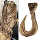 Full Shine Vollkopf Klavier Farbe Clip in Echthaar #10 Dark Ash Blond Highlight with #16 mit #16 Ash Blond 9pcs Dip Dyed Remy Hair Extensions Clips 24Zoll