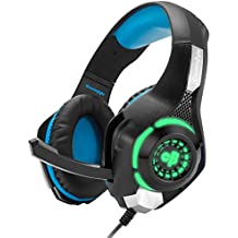 Cosmic Byte GS420 Headphones With Mic, RGB LED Lights And Audio Splitter For PS4, Xbox One, Laptop, PC, IPhone And Android Phones (Black/Blue)