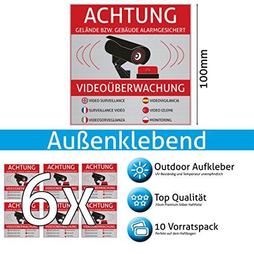 Achtung Videoüberwachung Aufkleber – Schild – Folie – Sticker ( Kameraüberwachung –...