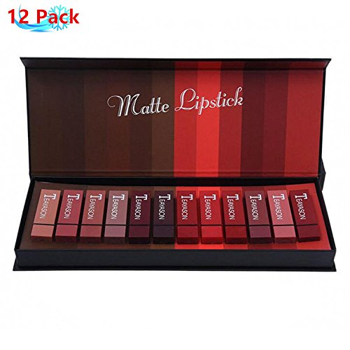 Petansy 12pcs conjunto de lápiz labial mate impermeable terciopelo desnudo kits de lápiz labial mate cosméticos con caja de regalo