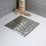 Hudson Reed Linear Ablauf für Bodengleiche Duschen zum Einfliesen aus Edelstahl mit Abdeckrost - 200 x 200 mm