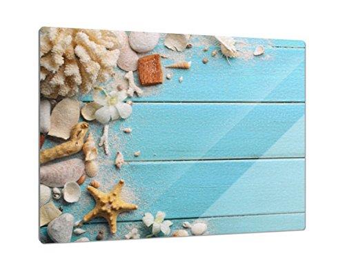 Klebefieber Glas-Schneidebrett Muscheln & Korallen B x H: 39cm x 28cm