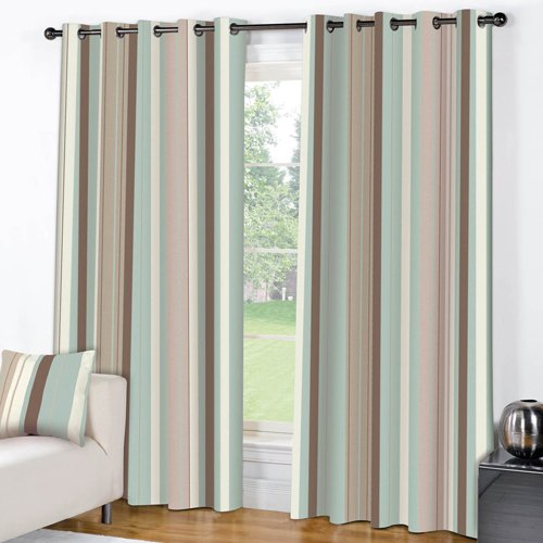 STRIPED BLUE CREAM PAIR LINED EYELET RING TOP CURTAINS (46