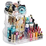 BUMC kosmetikorganizer acryl, Kosmetik Organizer drehbar Premium 360 ° Kristall verstellbare Schmuck-Parfüm-Display-AufbewahrungskofferPerfekt für Schminktisch, Badezimmer,Clear