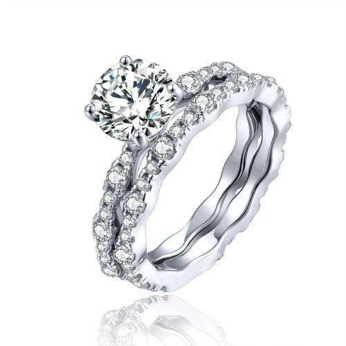 ge Silber, 7MM AAA Zirkonia trennbare Ringe Frauen, Jubiläum Ehering Verlobungsring Sets 925 Sterling Silber (4.5) ()