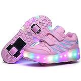 Niños LED Zapatillas con Ruedas Deporte Patín Ruedas Luminoso Formadores Flying LED con un Adulto Intermitente Zapatos con Ruedas Niñas