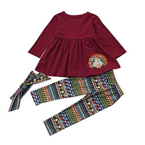 ving Kleinkind Kinder Baby Mädchen Outfits Baumwollmischung Oansatz Türkei Druck Kleidung Kleid + Pants + Stirnband Set 1-5 Jahre alt (Mehrfarbig, 5 Jahre alt) (Baby Outfit Türkei)