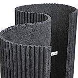 Waveform PET: rotolo di materiale fonoassorbente in fibra di poliestere per studi di registrazione e allestimenti speciali, presentato in bobine lunghe 3 metri e alte 1,2. È possibile utilizzare questo materiale di grande appeal visivo per rivestire qualsiasi superficie e forma.