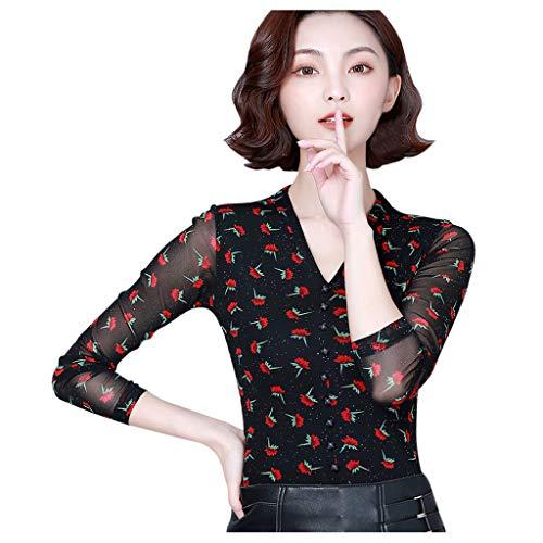 Luotuo Spitze Lange Ärmel Top Damen Sexy Slim Langarmshirt Mode Elegant T-Shirt Oberteile Bluse