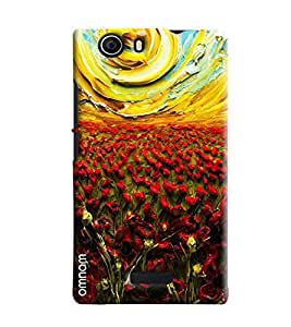 Omnam Glass Painting Effect Of Red Flowers And Sun Printed Designer Back Cover Case For Micromax Nitro2 E311