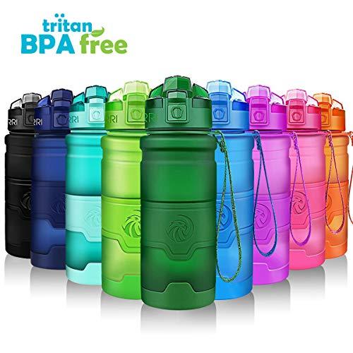 ZORRI Sport Wasserflasche 1l/ 700ml/500ml/400ml Trinkflasche Bpa Frei Tritan Schule Sportflasche Trinkflaschen für Kinder,öffnet Sich mit 1-Click - Wiederverwendbare mit dicht schließendem Deckel