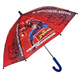 Parapluie Enfant Marvel Spiderman - Parapluie Solid Spider Man Garçon - Long Résistant au Vent en Fibre de Verre - Rouge - Ouverture de Sécurité - 3/6 Ans - PFC Free - Diamètre 76 cm - Perletti