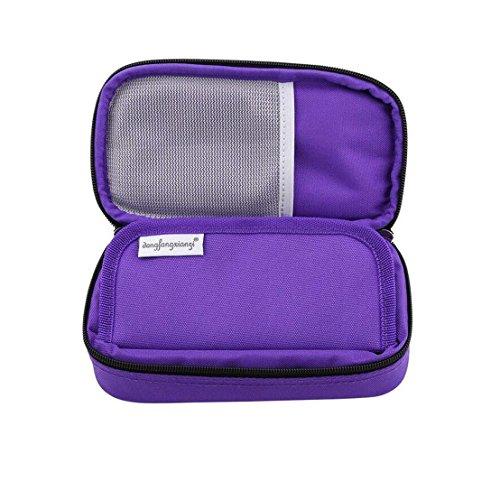 51oWs2FCdRL - Bolso portátil del refrigerador del organizador de la insulina, bolso del refrigerador del viaje de la caja del protector médico con paquete de hielo para el diabético (Púrpura + 2 Bolsas de hielo)