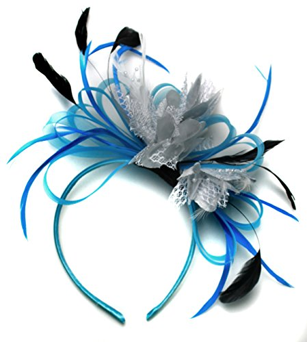 bleu-aqua-bleuet-argente-net-creole-plume-pour-cheveux-serre-tete-mariage-royal-ascot-courses