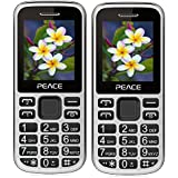 Peace P2 Black+ P2 Blue COMBO OF TWO Mobile Phones With 1.8 Inch, Dual Sim, 850 MAh Battery, Wireless FM, Bluetooth, Digitel Camera, Call Recording, MP4, Internet & 1 Year Warranty