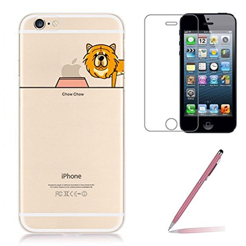 iphone-se-5-5s-silicone-case-with-tempered-glass-screen-protector-yooweir-crystal-clear-cute-cartoon