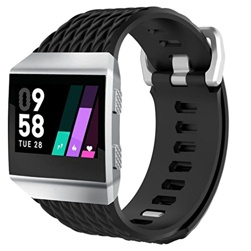 squarex Soft Silikon Ersatz Sport Strap Armband für Fitbit Ionic Smart Watch, Damen, Schwarz, B(❤️Band Length: 230mm,❤️Band Wide: 23MM) Wide Led