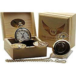 50's Signed Elvis Presley Gold Pocket Watch Full Hunter AND Collectors Coin Keyring 24 Carat Gold plated in Luxury Wooden Box Presentation Case