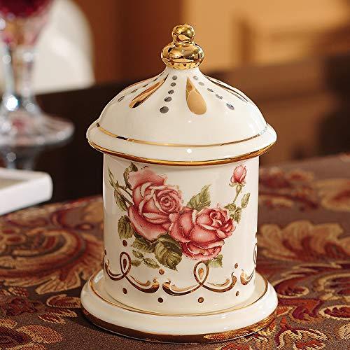 NiNnn Zahnstocher Box zahnstocher Glas aufbewahrungsbox persönlichkeit Tabelle zahnstocher Halter Keramik Wohnzimmer Home Storage Finishing 7,5 * 7,5 * 11 cm, stieg zahnstocher Halter (Zitronenpresse Tabelle)