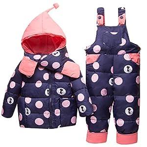 Vimukun Baby Winter 3 Stück Schneeanzug Kapuze Daunenjacke + Schneehosen + Schal Kinder Skianzug Outfit Bekleidungssets