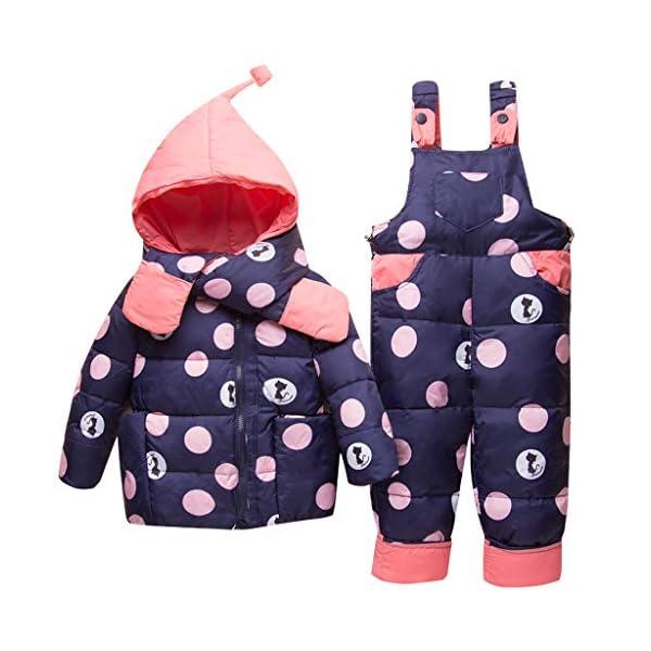 Bebé Invierno 3 Piezas Trajes de Nieve Capucha Plumón Chaqueta + Pantalones y Monos para La Nieve + Bufanda Niños Niñas… 1