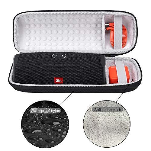 Schutzhülle Tasche für JBL Charge 4, Hart Reise Schutz Hülle Premium Tragetasche Travel Cover Case für JBL Charge 4-Wasserdichter Bluetooth Lautsprecher - Passend für Zubehör (Schwarz) Travel Cover Case